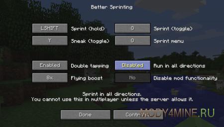 Better Sprinting - Мод на бег для Майнкрафт 1.8.9/1.8/1.7.10