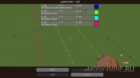 Laser Level — мод на строительство для Майнкрафт 1.9/1.8.9/1.8.8/1.8
