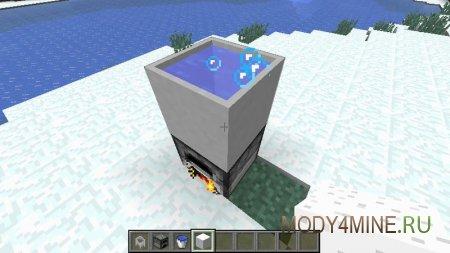 Создайте блок сахара и бросьте его в котел. Разожгите печь, и сахарная вода начнет кипеть.