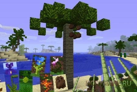 Пальмы, цветы и тростник