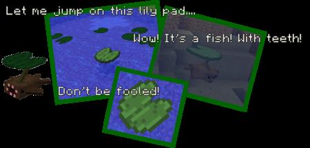 Рыба-ловушка (притворяется кувшинкой, имеет острые зубы)
