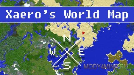 Xaero's World Map – мод на карту мира для Minecraft 1.16.x, 1.15.x, 1.14.4-1.7.10