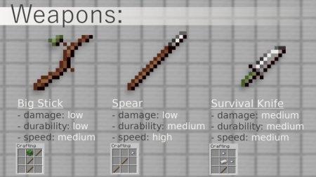 Большая дубина, копье и нож для выживания